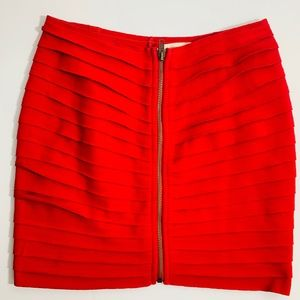 Silence + Noise Red Tiered Front Zip Skirt M